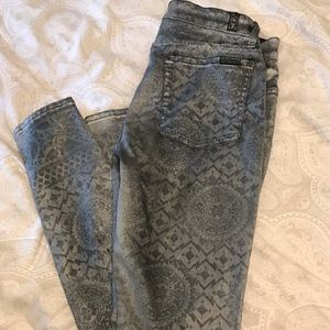Seven for all mankind metallic skinny jeans